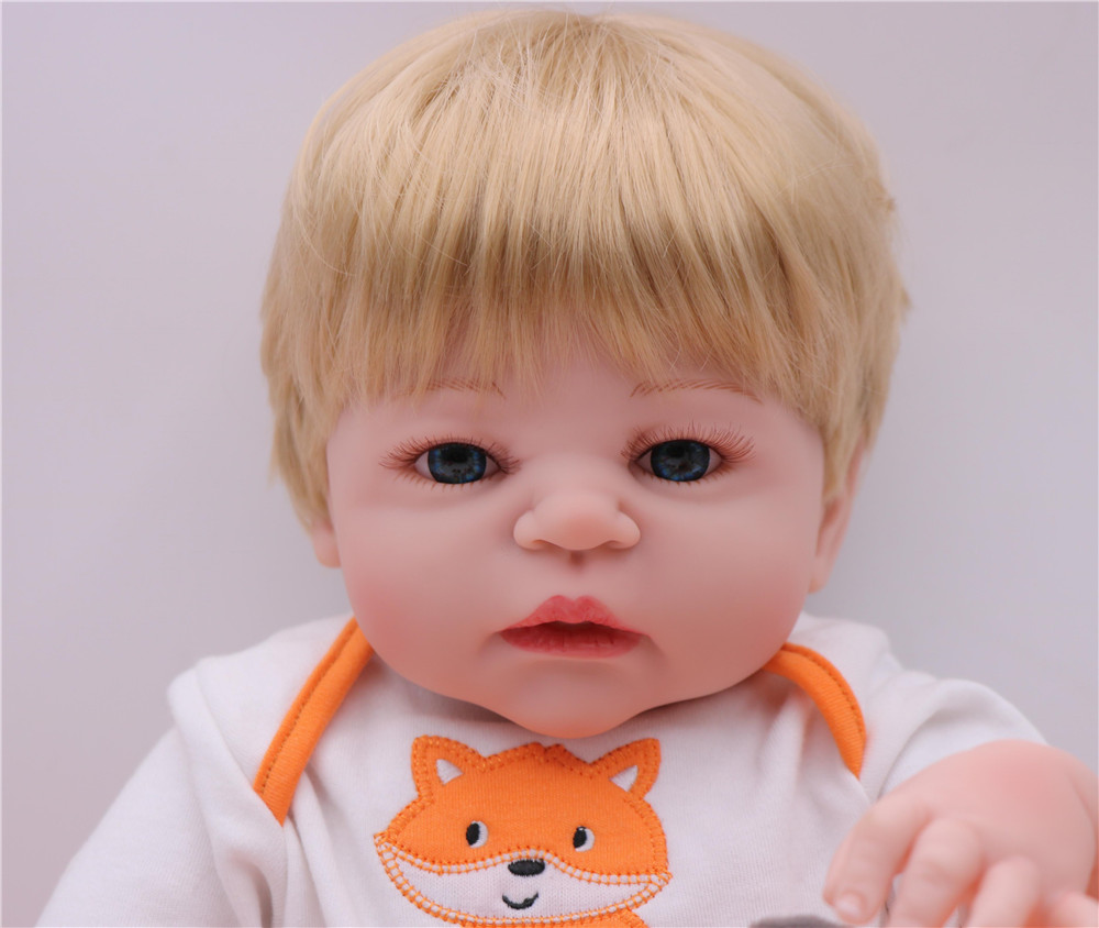 23 39 39 Fashion blond boy Realistic Reborn Baby Doll Full Silicone Vinyl Adorable Baby Toy Wear Cartoon clothes Kid Birthday Gift in Dolls from Toys amp Hobbies