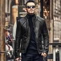 Мужская подлинная овчины кожаные куртки и пальто шерсти меховой кожаные куртки теплые мужчины slim fit кожаная куртка мотоцикла 2016 L243