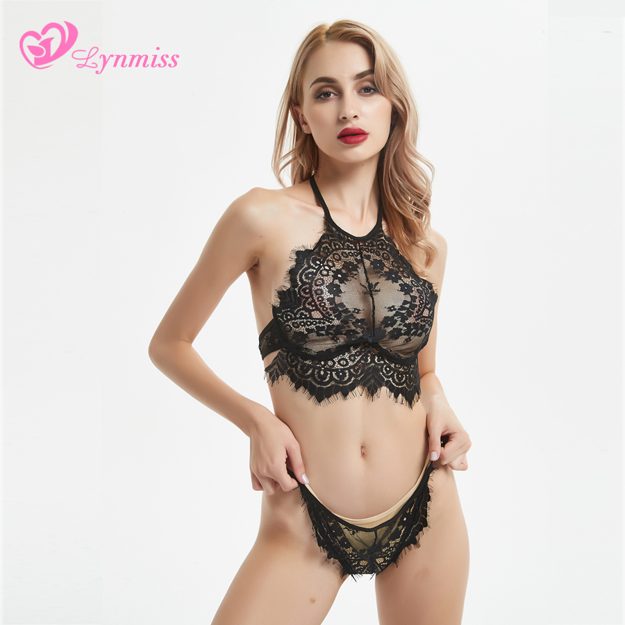 Lynmiss Lingerie Sexy Hot Erotic Lingerie Toys Porn Sexy Underwear Women Erotic Lace Pajamas Halter Black Women Erotic Costumes