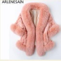 Arlenesain custom 2018 Spring New Haining Mink Fur Fox Collar Short women Jacket