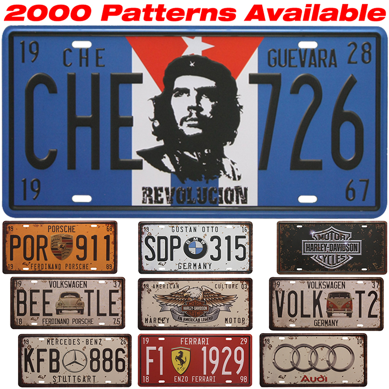 guevara car license plate vintage home decor tin sign plaque metal decorative vintage metal. Black Bedroom Furniture Sets. Home Design Ideas