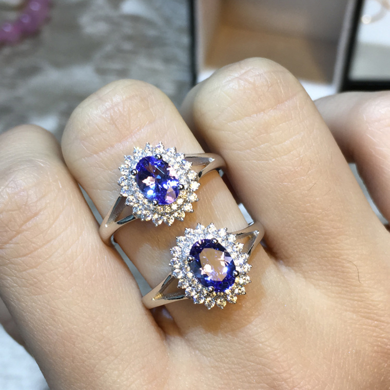 ZT Romantic Women 925 Sterling Silver Rings Two White Or Rose Color Rings 4A Blue Tanzanite Jewelry Female Rings For Woman Ring 6pcs of stylish color glazed round rings for women
