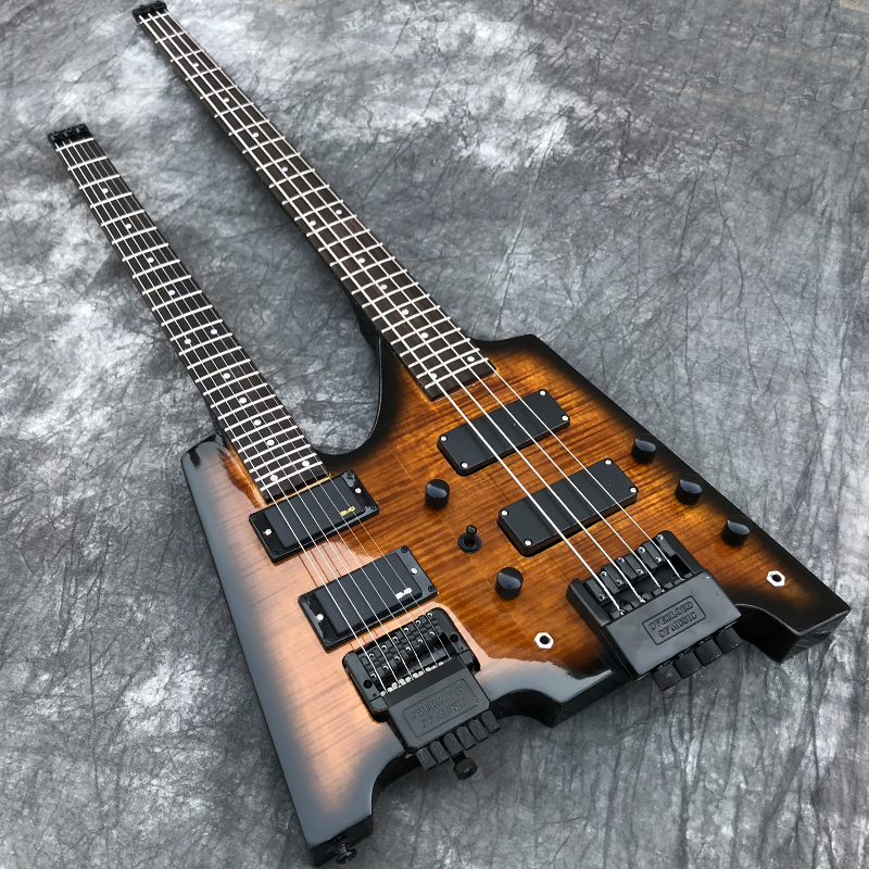 Double necks Headless Electric guitar Flamed Maple top 6 string Guitar 4 string Bass Combo Tobacco