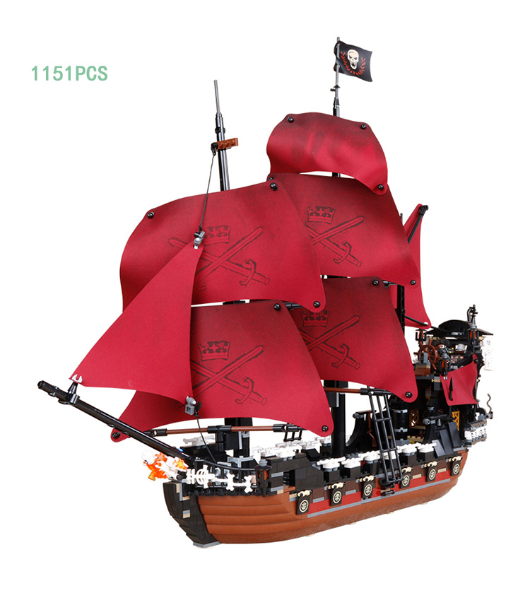 Hot Movie Pirates of The Caribbean Queen Anne Revenge Ship Block Mini Captain Jack Blackbeard Figures Lepins Bricks 4195 Toys compatible with lego 4195 models building toy 39008 1222pcs queen anne s revenge pirates of caribbean building blocks