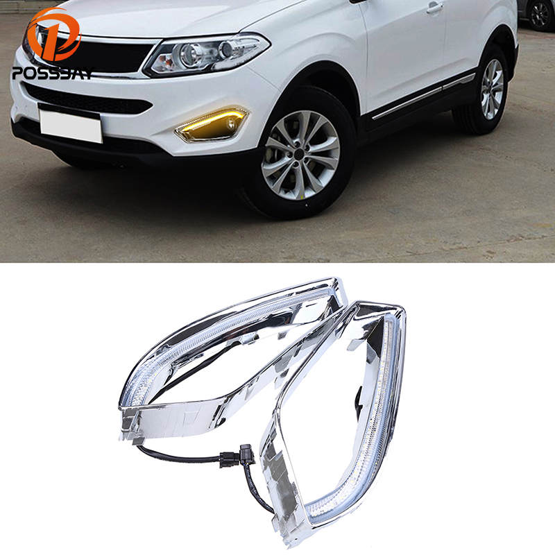 POSSBAY Turn Signal Light Fog Light Cover for Chery Tiggo 5(T21) 2013 2014 2015 LED DRL Daytime Running Lights White+Yellow Bulb led drl day lights for mitsubishi asx 2013 2014 2015 daytime running light driving fog run lamp with yellow turn signal