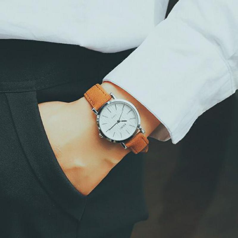 Ulzzang Fashion Simple Small Dial Dress Women Watch Ladies Girls Young Watch Leather Women Wristwatch ladies women s fashion style casual watch leather round wristwatch heart love pattern dial with pink white black yellow relogio