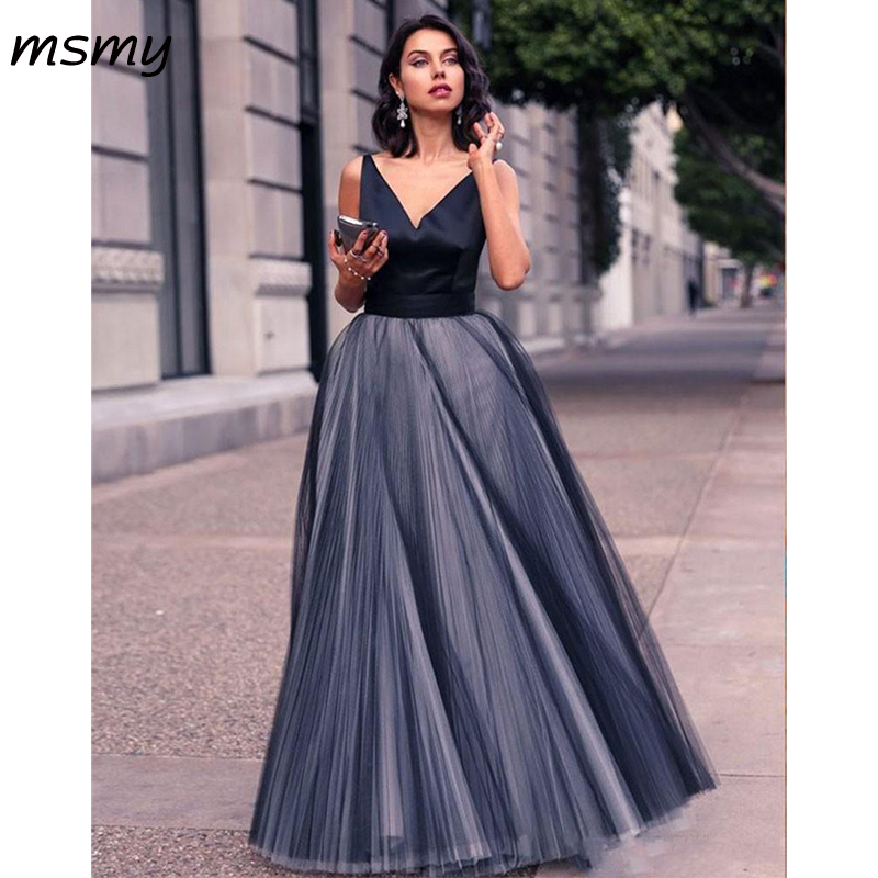 2019 New Simple Cheap Black Gray Evening Dress Long Tulle Skirt Full Length Women Prom Formal Party Gown
