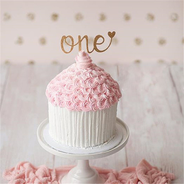 Hey Funny 5pcs Glitter 1st First Birthday One Cake Cupcake Toppers
