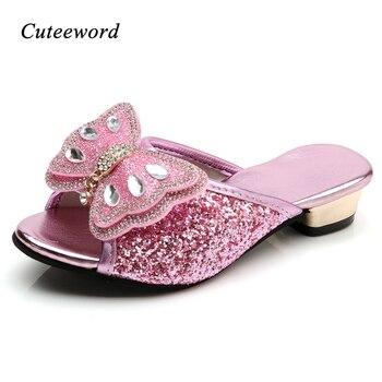 20814510f Sandalias princesa zapatillas de verano de los niños zapatos de moda Zapatos  de lentejuelas mariposa niñas tacones altos Slip Casual zapatos de cuero  para ...