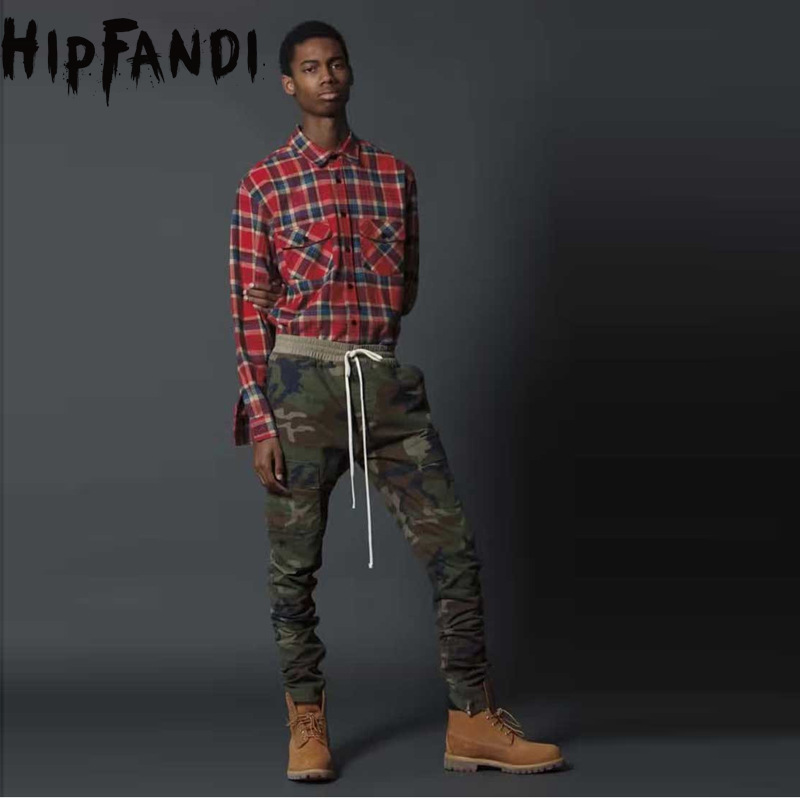 HIPFANDI Fear Of God Side Zipper Urban Brand Clothing Chinos Kanye West Camo Camouflage Trousers Joggers Men Cargo Pants