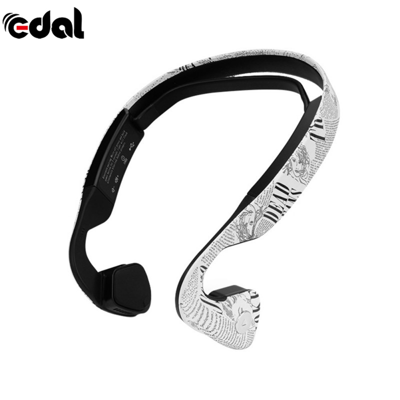 Wireless Bluetooth Stereo Printed Bone Conduction Headset  With Mic Sport Running Driving Ear-Phone For Fitness/Outdoor s wear windshear sport bone conduction bluetooth earphones with mic