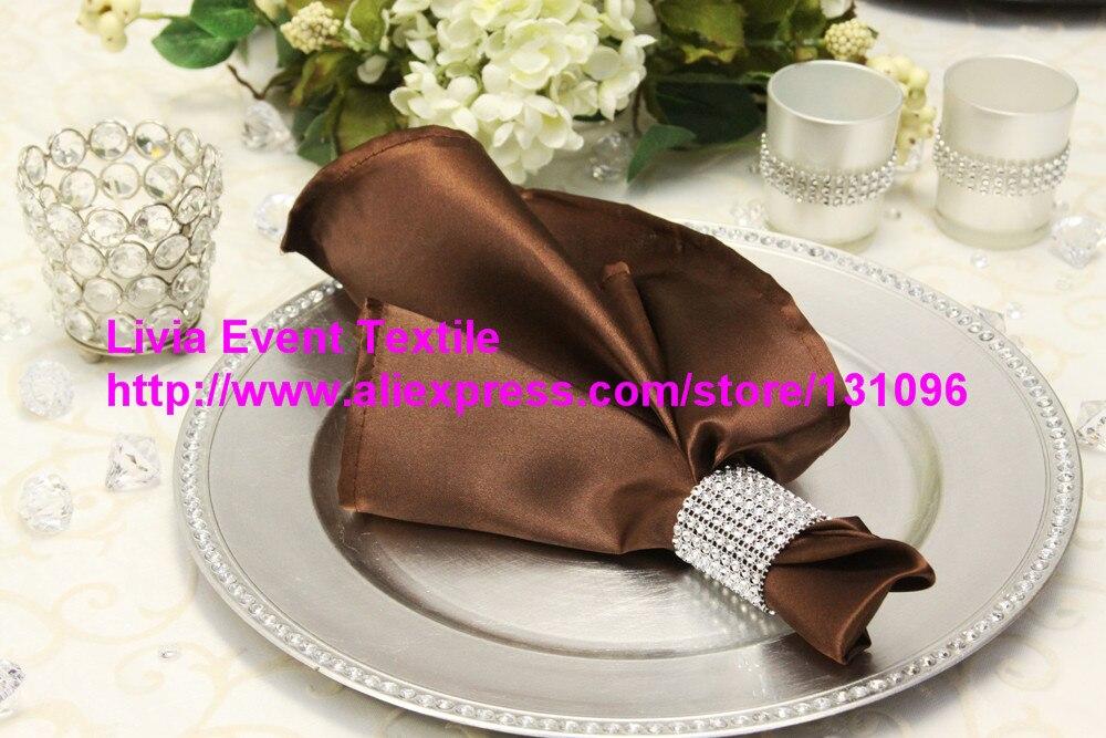 60pcs #42 Chocolate Brown Orange Satin Napkin 45x45cm ,Table Napkin For Weddings Events &Party&Restaurant &Hotel
