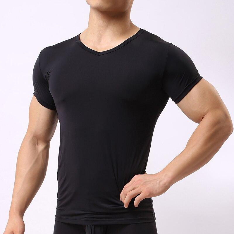 Men Ice Silk Muscle Sports Fitness Mesh Striped Sheer T-Shirt Tank Top Underwear