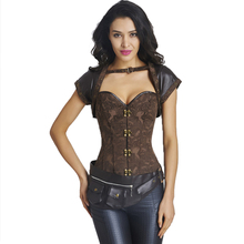 Women's Steel Boned Brown Vintage Steampunk Corset Corselet Top Women Gothic Overbust Bustiers and Corsets For Waist Trainer