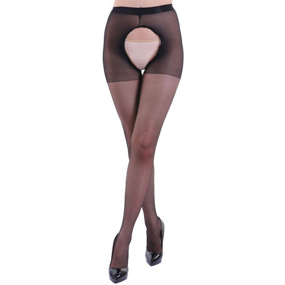 Hot sexy femme open crotch tights women thin solid crotchless pantyhose collants fantaisie femme