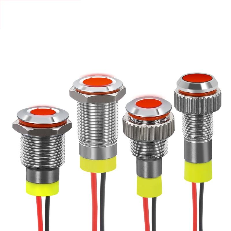 Waterproof Indicator Light Metal Bulb Signal Lamp LED Seal Light Alarm Pilot Car Boat LED Warning Dashboard PC Power Signal Lamp