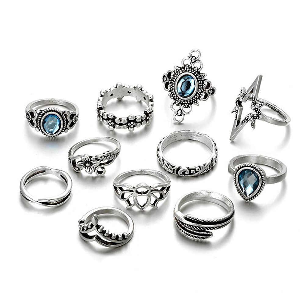 DoreenBeads แฟชั่นแหวนนิ้วมือชุด 11 PCs หมองคล้ำสีเงิน Feather อินเทรนด์ผู้หญิงโบฮีเมียเครื่องประดับ Rhinestone 1 ชุด