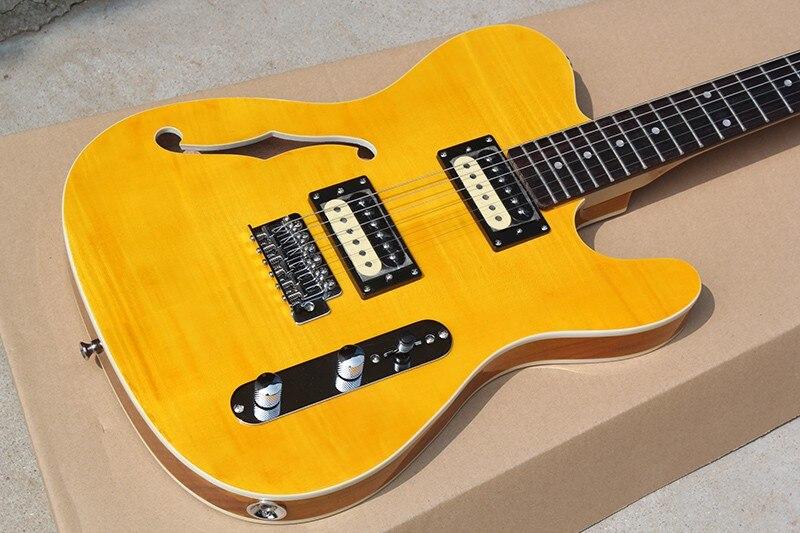 Usine en gros couleur jaune un trou f guitare électrique avec 2 micros ouverts, reliure Double face, offre personnalisée