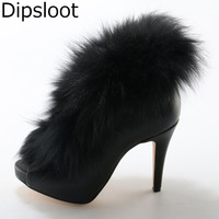 Hot 2017 New Western Style Fashion Women Solid Black Zip Back Open Toe Big Fox Fur
