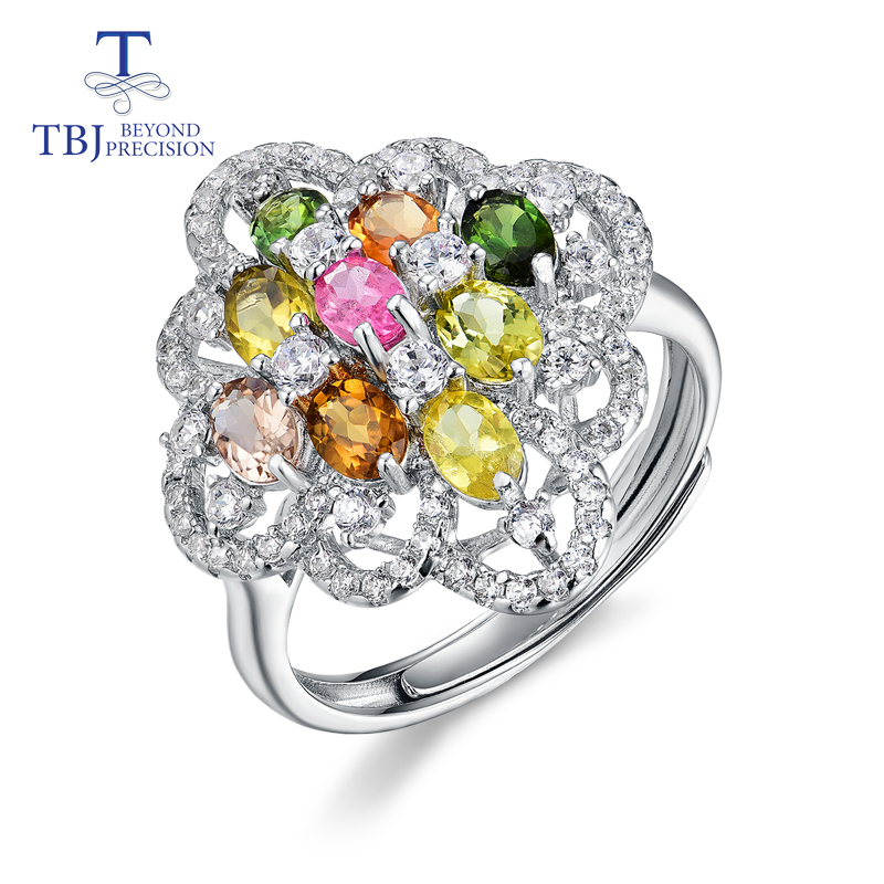 TBJ natural gemstone fancy color tourmaline Rings 925 sterling silver elegant design for women birthday gift