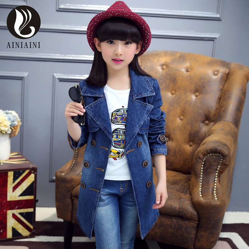 2017 Children s Clothes Of Thin Section Suit Collar Full Denim Jacket Solid Color Waistband Double
