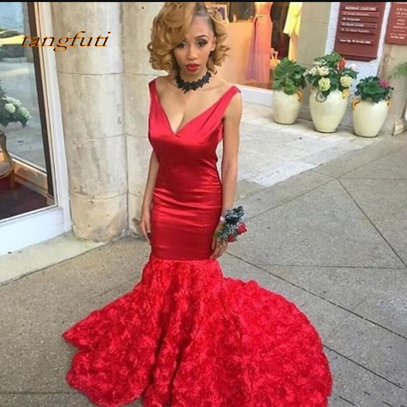Red Mermaid 2019   Evening     Dresses   V Neck Satin 3D Flowers Sweep Train Prom Party   Dress   robe de soiree longue Formal   Evening