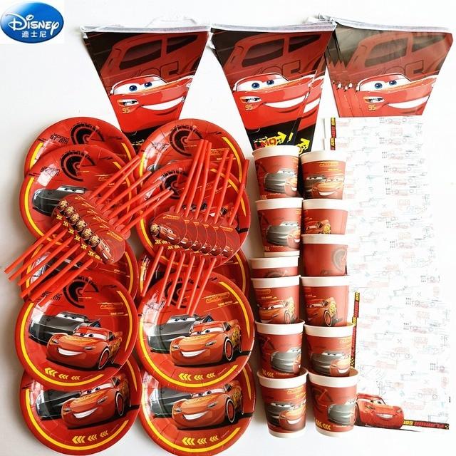 68pcディズニーハッピーバースデー子供macqueen車男の子シャワーパーティーの装飾セットバナーストローカッププレートサプライヤー