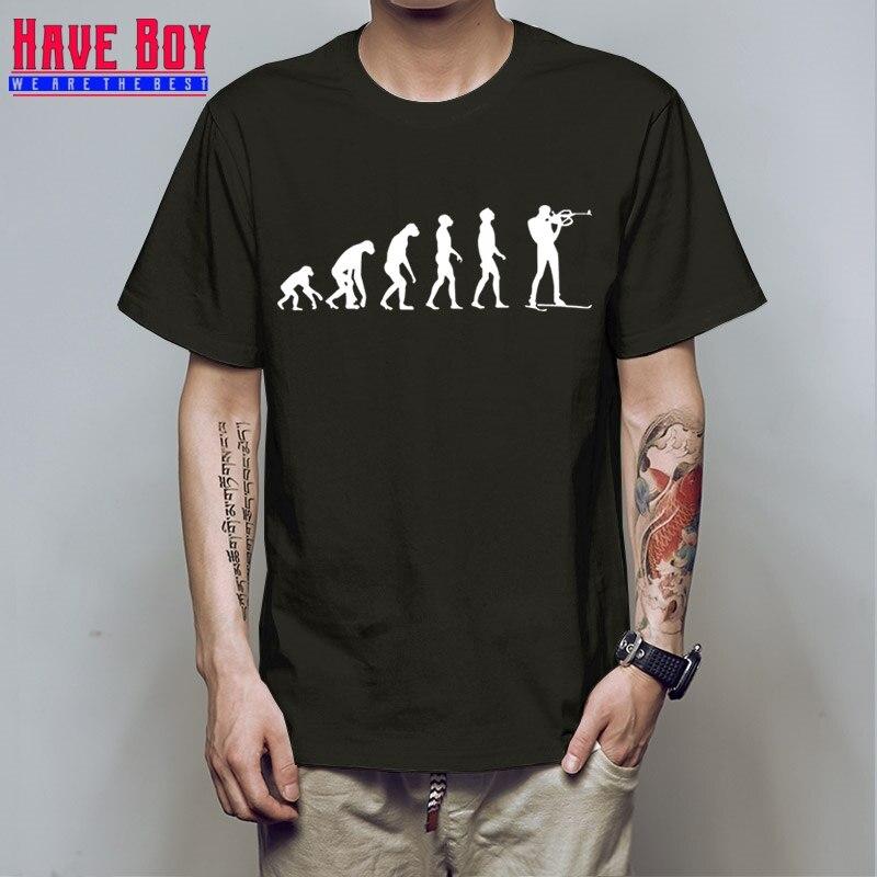 У мальчика Для мужчин футболка биатлон футболка Летний стиль Изделие из хлопка с короткими рукавами биатлон Эволюция выстрел футболки модн...