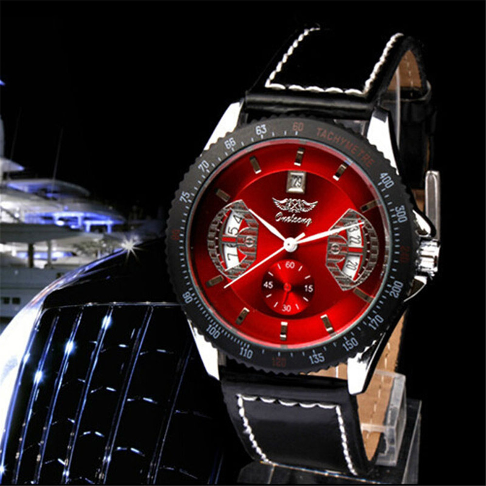 2017 Luxury Men Black Leather Red Dial Skeleton Mechanical Sport Wrist Watch  Casual Clock Relogio Masculino Hombre watch men luxury men mechanical wrist watch circles hand winding crocodile embossed genuine leather skeleton dial gentleman gear windup