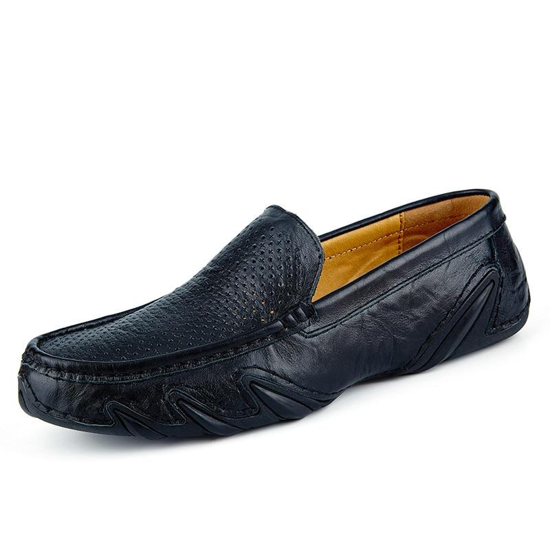 Black brown D'été Glissement Hommes En Haute Qualité Mocassins Sur blue Cuir Chaussures Souple Respirant Belle 764wdfxq6