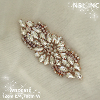 (30PCS) Wholesale hand beaded sewing rose gold clear crystal rhinestone applique for dresses DIY iron on WDD0610