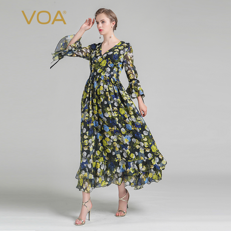 VOA soie grande taille femmes Boho jaune imprimé balançoire robe Sexy col en V Flare manches coréenne taille haute décontractée robe d'été ALX06001