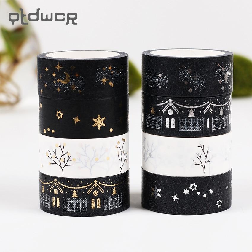 1PC 1.5cmX5m Bronzing Black White Paper Washi Tape DIY Textured Paper Decorative Masking Tape Sticker Paper Adhesive Tapes