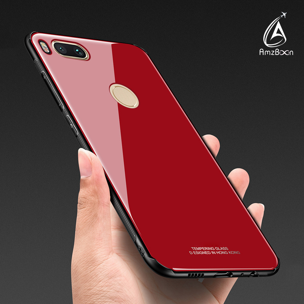 Amzboon Luxury 9H Anti-scratch Back Glass Protector case Cover Shell For Xiaomi 5X & A1 Phone Anti-shock Coque Bag Silicone Case