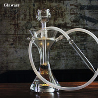 2017 flower flask shape glass shishas two layers hookah bowl silicone hose LED light base remote controller smoking water pipes