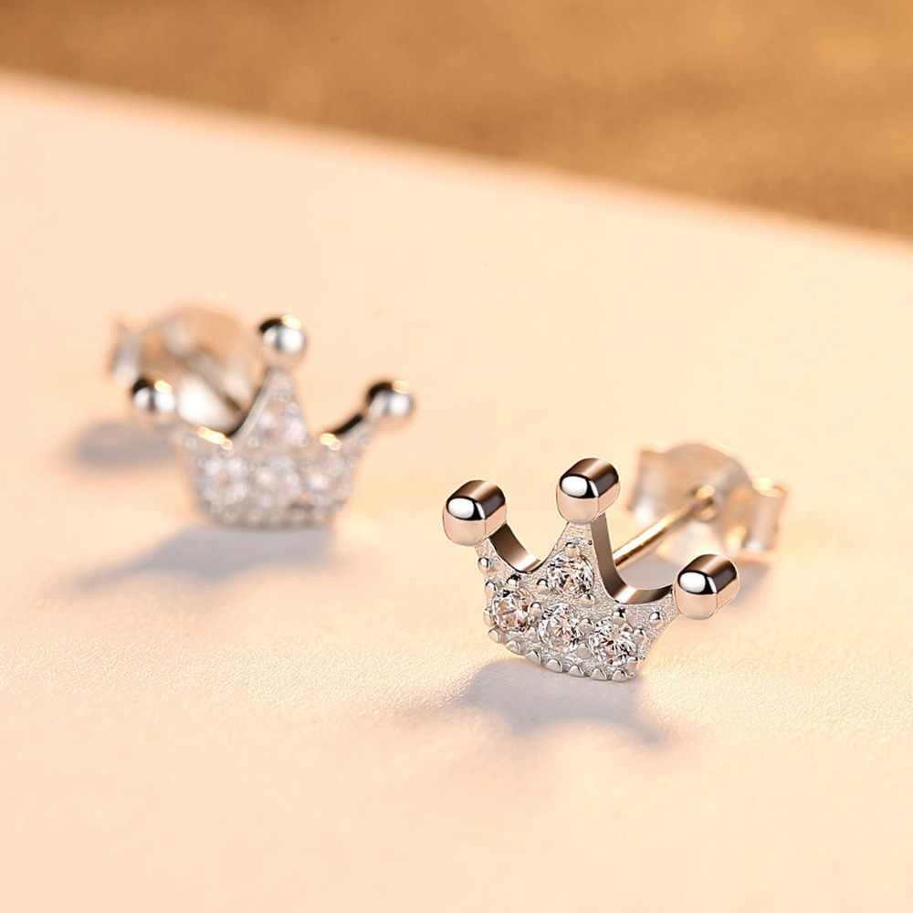 CZCITY 925 เงินสเตอร์ลิงน่ารัก Princess Crown ต่างหูประกาย Femme ต่างหูเครื่องประดับอุปกรณ์เสริมของขวัญ