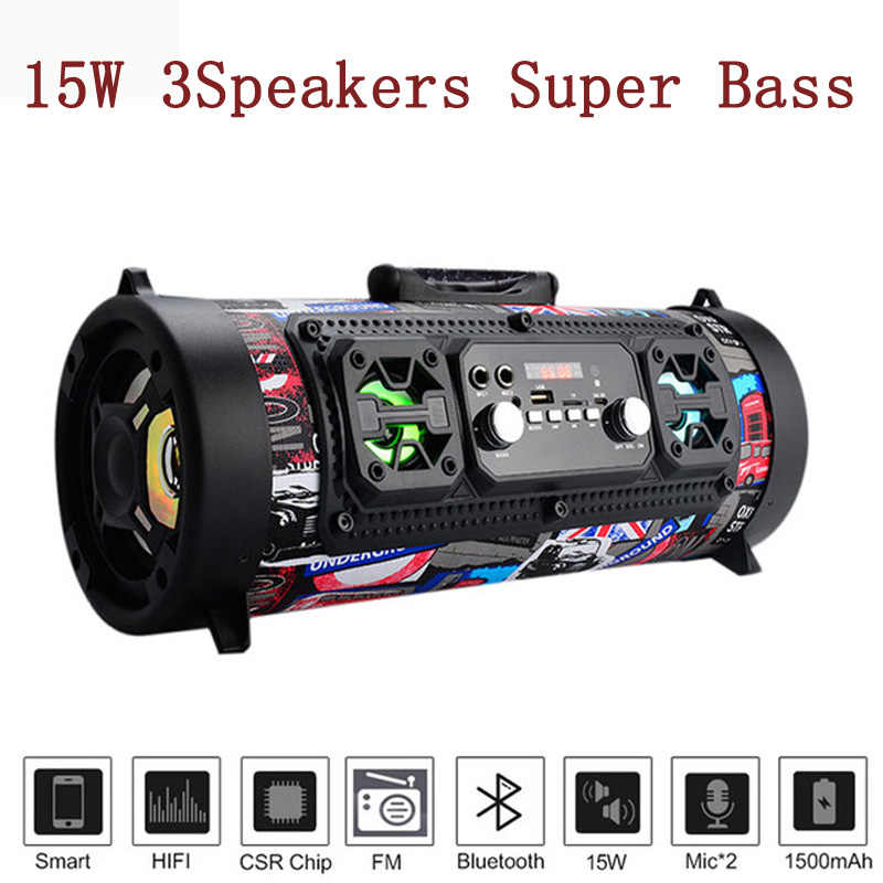 Hifi Portable Bluetooth Speaker FM Radio Move KTV 3D Sound Unit Wireless Surround TV Sound bar Subwoofer 15W Outdoor Speaker+Mic
