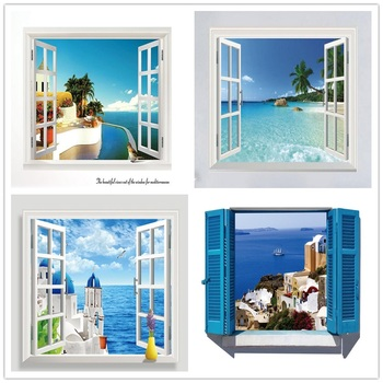 цена на 3D Removable Beach Sea 3D Window Scenery Wall Sticker Home Decor Decals Mural Waterproof Art Wall Paper Poster