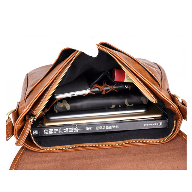 Leather Men Bag Casual Business Leather Mens Messenger Bag Fashion Men's Crossbody Bag 4