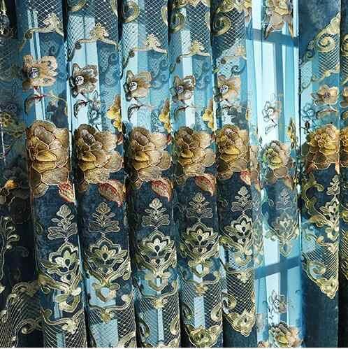 FYFUYOUFY-rideau brodé chenille or filé   style européen, sur le marché, rideau de tulle rétro brodé, pour salon