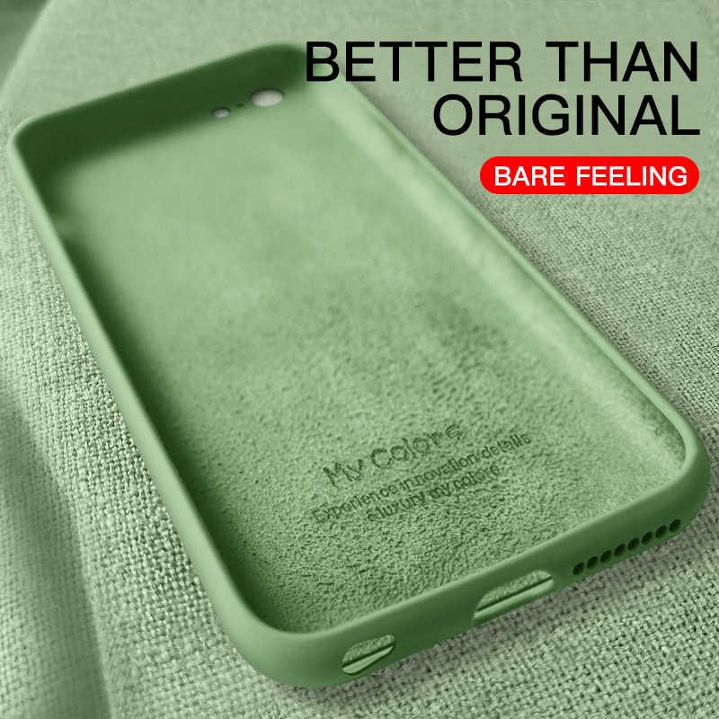 Capa macia fina para iphone 7 8 6s plus 4 5 se2 silicone líquido original capa doces coque capa para iphone x xs 11 12 pro max xr