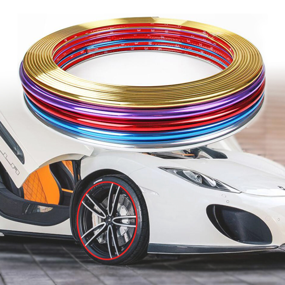 8M Plating Trim strip Wheel hub protection body decoration sticker Red HK K