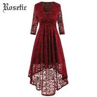 Rosetic Gothic Asymmetrical Dress Hollow Lace Burgundy Women Spring Fashion Elegant V Neck Vintage Prom Black Retro Casual Dress
