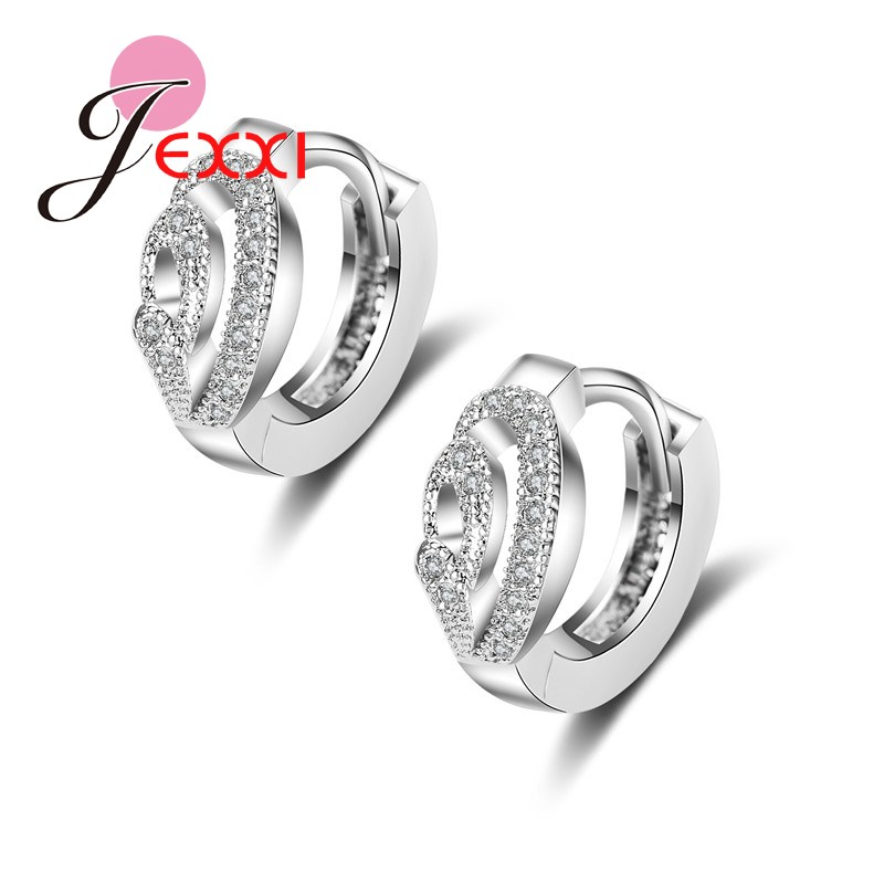 Best Deal New Good Quality 925 Sterling Sliver Women Earrings Silver Crystal Hollow Design Stud Earring Valentine's Day image