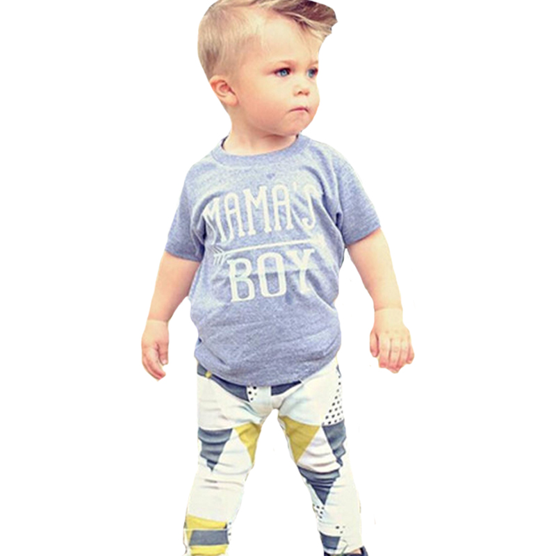 2017 Toddler Boys Clothing Set Letter Arrow T Shirt+Geometry Pants 2pcs Kids Baby Clothes Summer Style Mamas Boy Clothing Sets