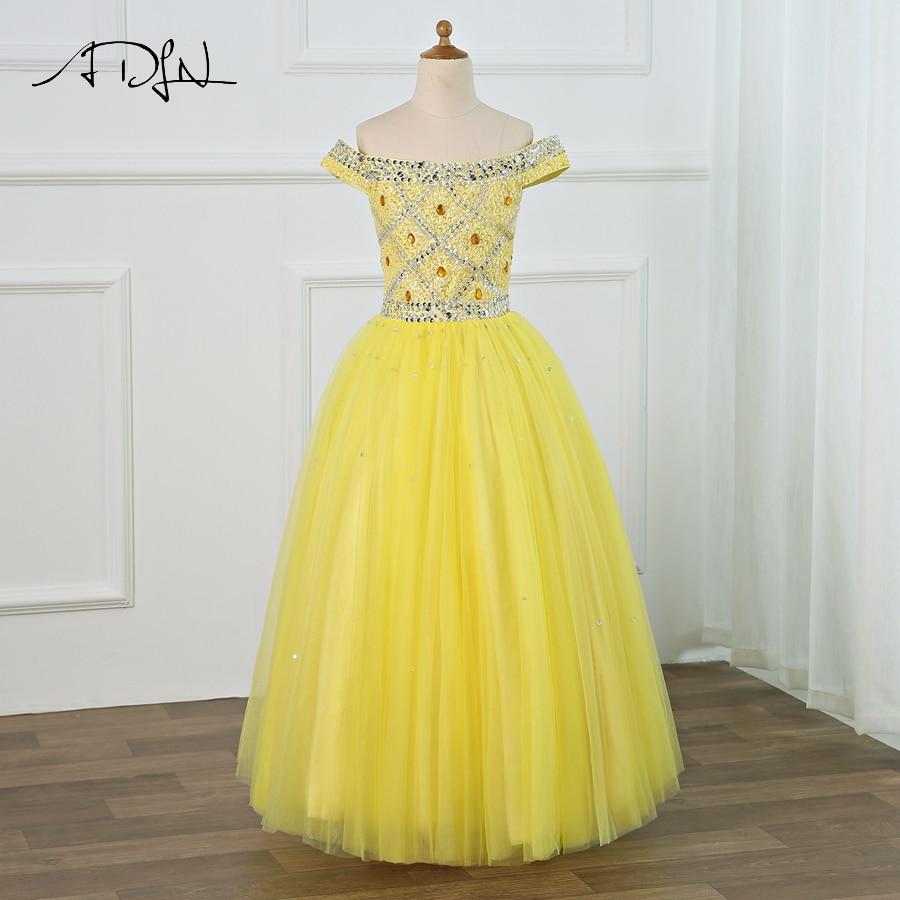 ADLN Princess   Flower     Girl     Dresses   Off the Shoulder Sleeveless Beading Tulle   Girls   Peagant   Dresses   First Communion   Dresses