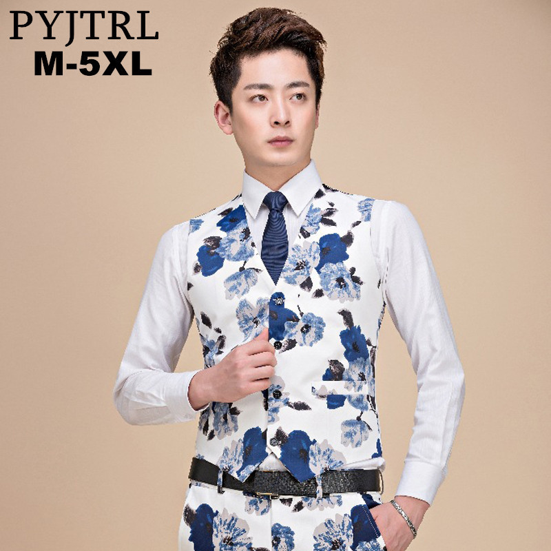 PYJTRL 2018 Plus Size 5XL Men Dress Suit Vest Formal Floral Print Gilet Slim Fit Busines ...