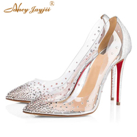 Red Bottom High Heels Wedding Pumps Party Stilettos Gold Silver Crystal Gem Clear Ladies Shoes Bride Women Transparent 12cm 10cm