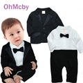 New Full Sleeve Black Coat and White T-shirt  Rompers Suit Gentleman Baby Boy Clothes Newborn Wedding Suit Fashion Clothing Set
