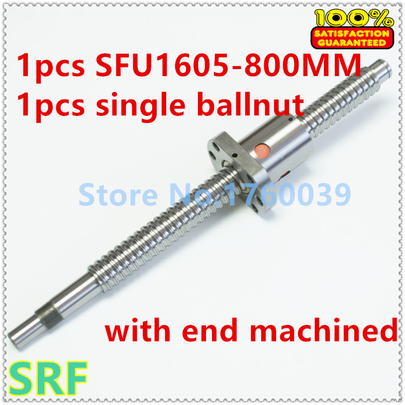 16mm Ball Screw Rolled Ballscrew 1pc Sfu1605 L 800mm With 1pcs Sfu1605 Flange Single Ballnut For Cnc Parts  sfu1605 ball screw l650mm ballscrew with sfu1605 single ballnut for cnc